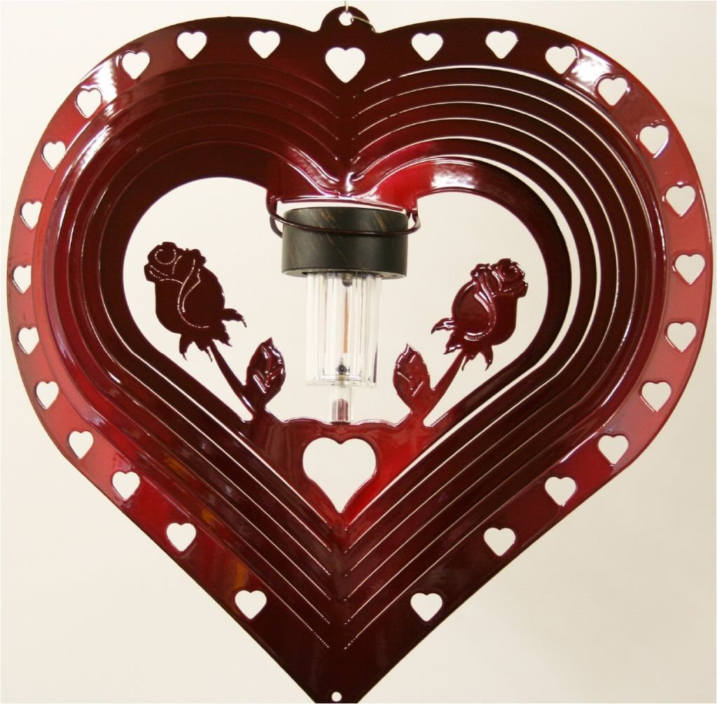 Stainless Steel Solar Light Heart and Rose - 12 Inch Wind Spinner - Red