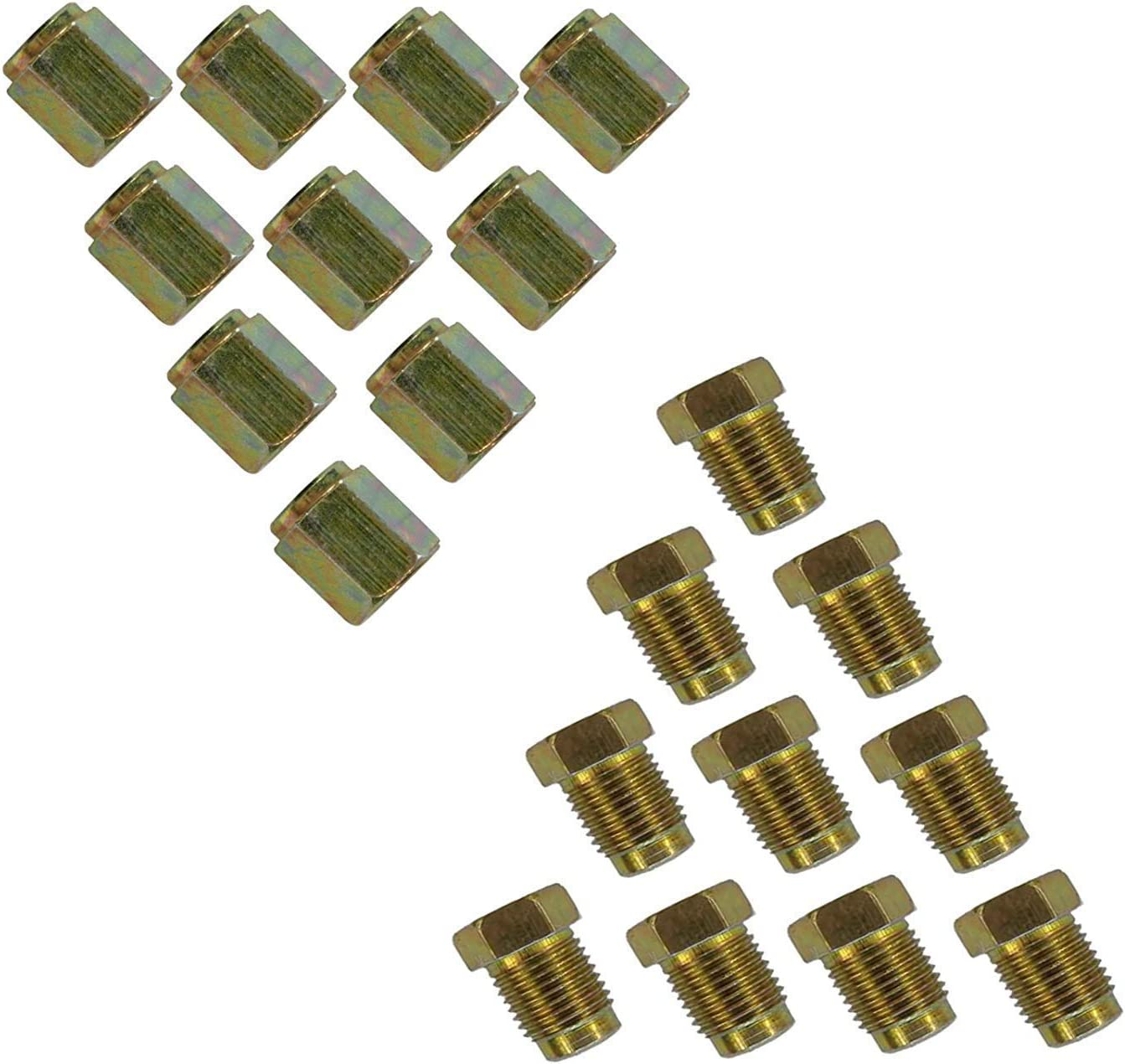20 pkt 10mm Short Brake Pipe Nuts 10 x MALE 10 x FEMALE for 3//16 pipe Metric