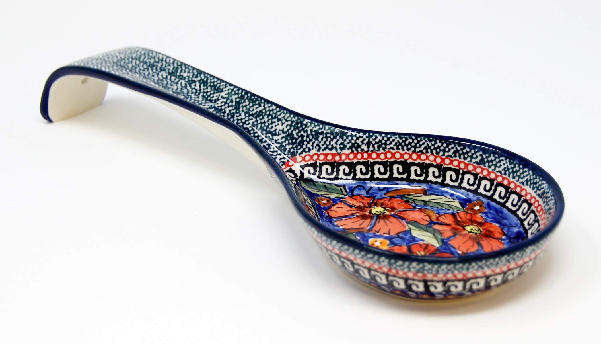 Polish Pottery Spoon Rest From Zaklady Ceramiczne Boleslawiec #1178-150 Art Unikat Signature Pattern, 12 Inch Long by Polish Pottery Market