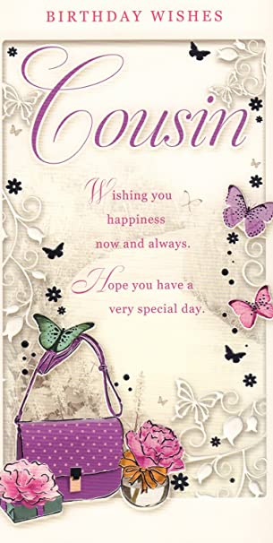 cousin birthday card birthday wishes cousin handbag butterfly