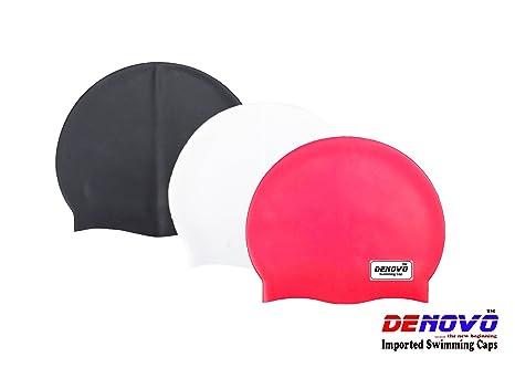 DeNovo Swimming Caps Set of 3  Black, White and Red  Swim Caps