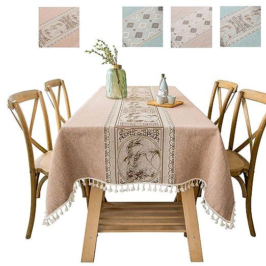 COMVIP Mantel de Mesa de té de Lino y algodón con Bordado Vintage ...