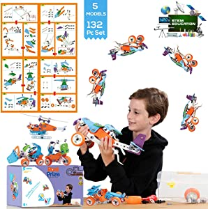STEM Learning Toys For 7-11 Year Old Boys & Girls. Building Toy Set, Construction Early Learning 132 Pc Kit Set, Fun and Creative Educational Models (5in1), Includes Toolbox Storage. Best Toy Gifts.