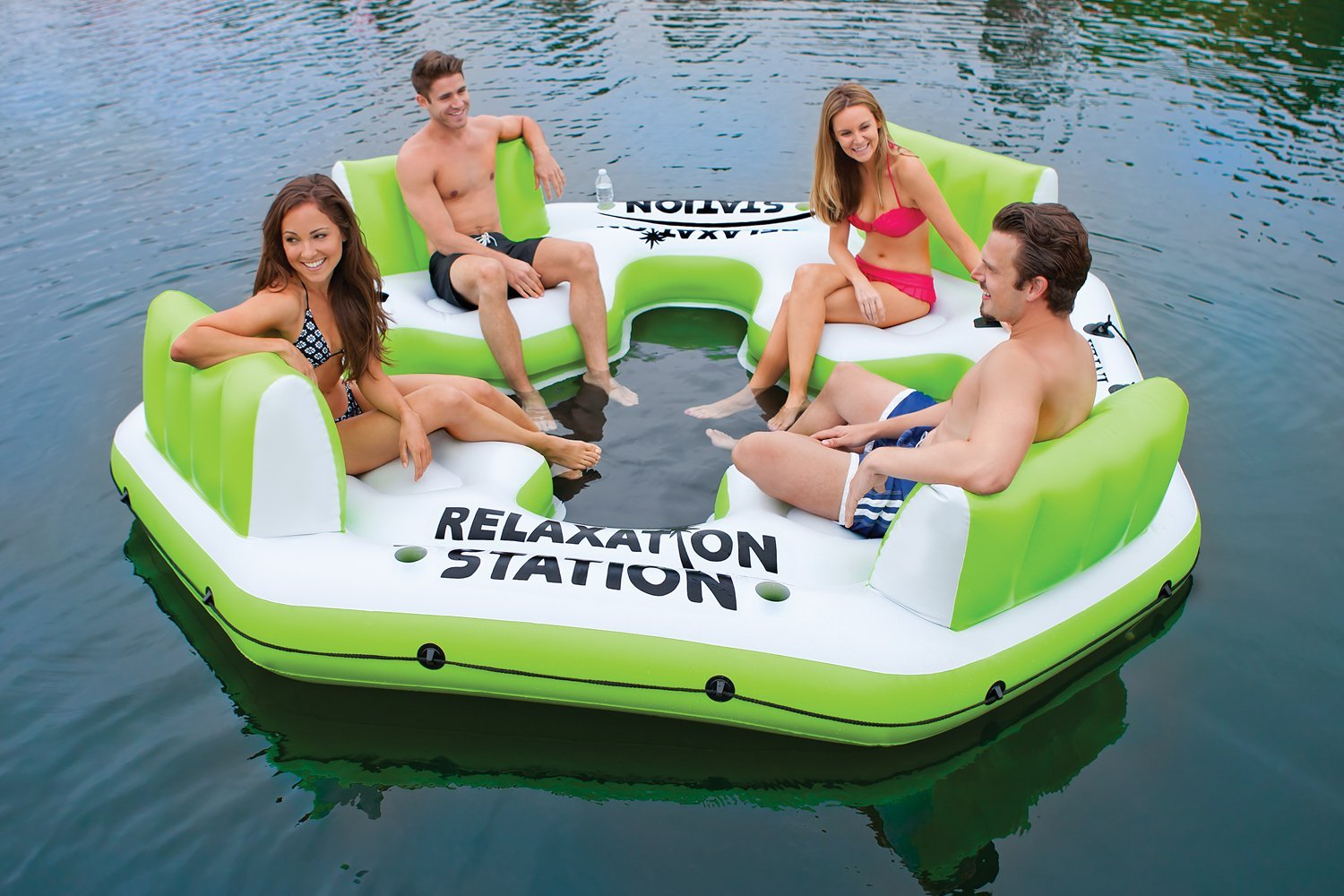 Amazon.com : Intex Pacific Paradise Relaxation Station Water Lounge  4 Person River Tube Raft : Sports U0026 Outdoors