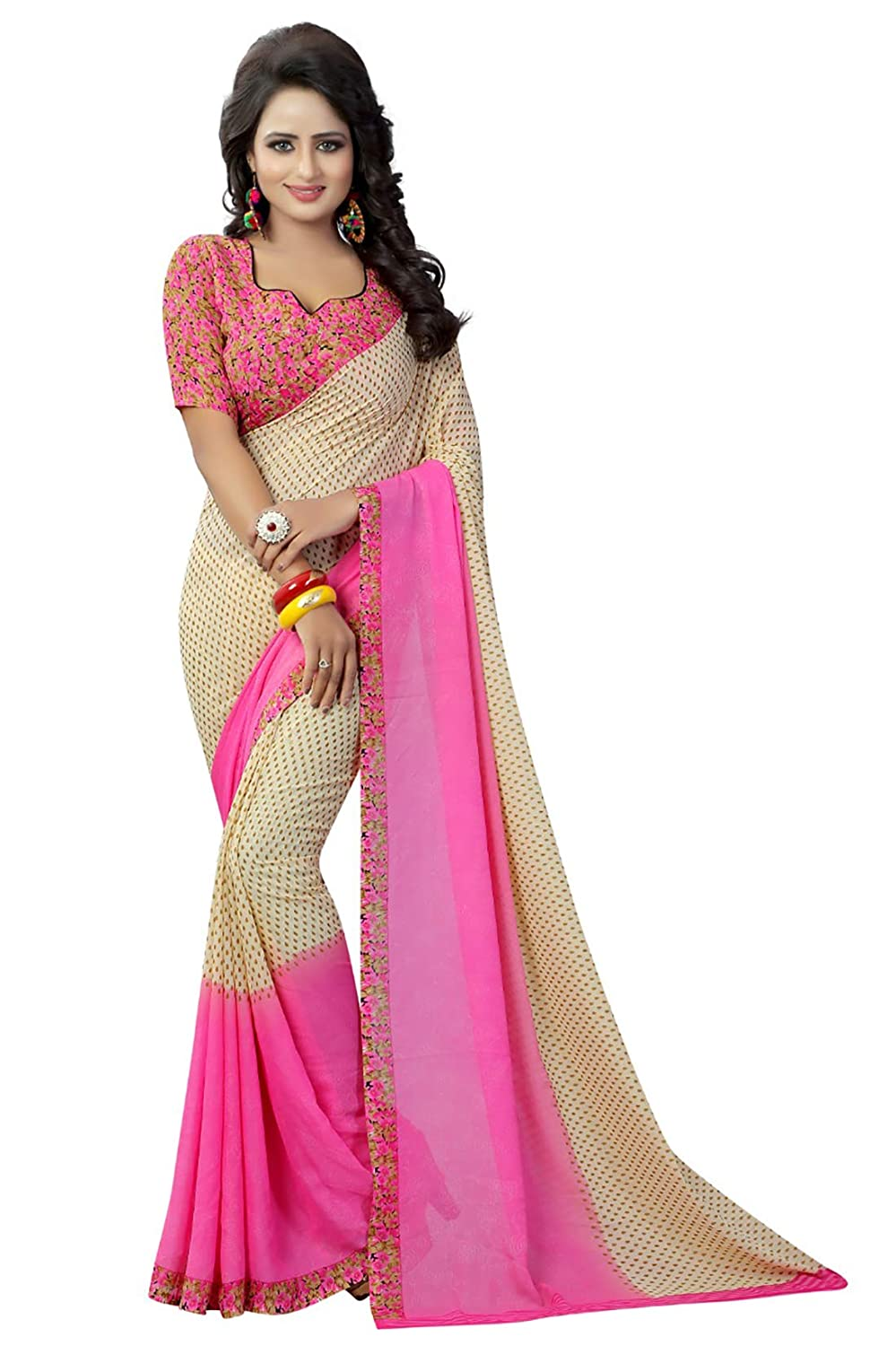 55a77ea80f Aarna Women's Beige and Pink Faux Georgette Printed Saree with Blouse  Piece: Amazon.in: Clothing & Accessories