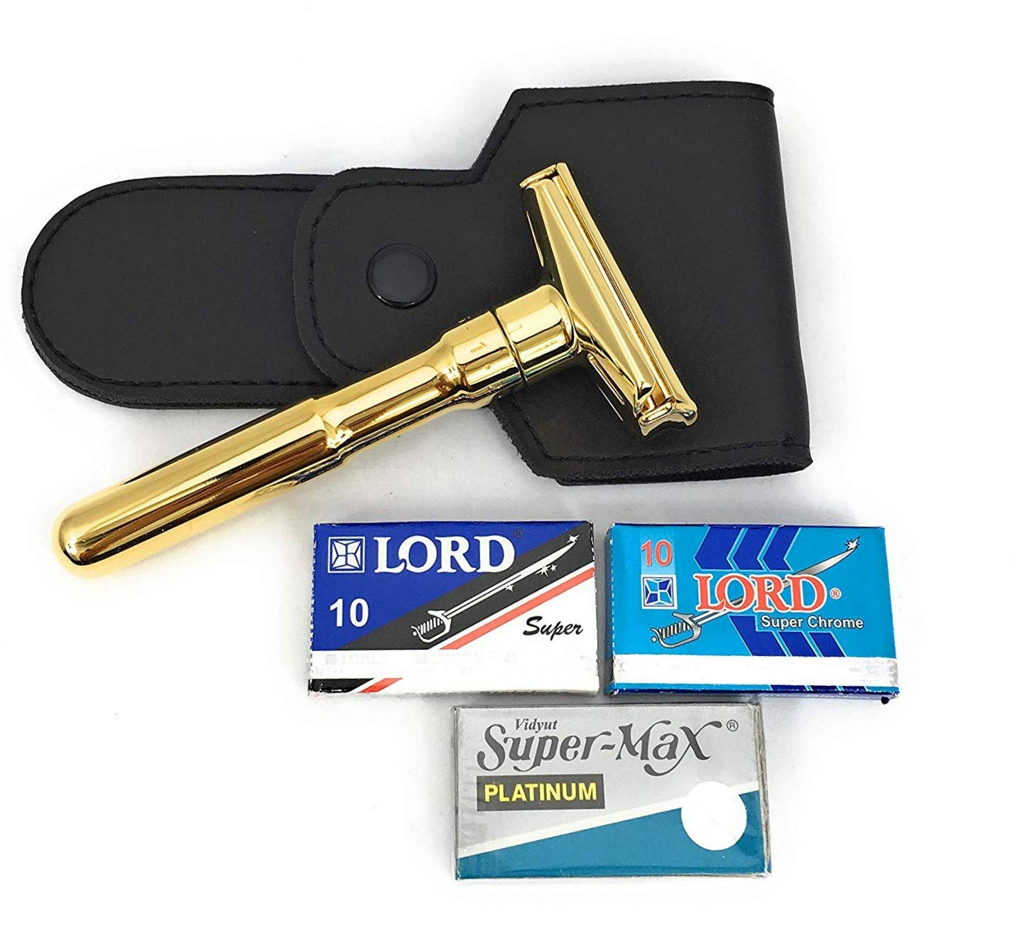 228f5a1e900 Amazon.com  Merkur Gold 702G Futur Double Edge Safety Razor with GBS  leather case