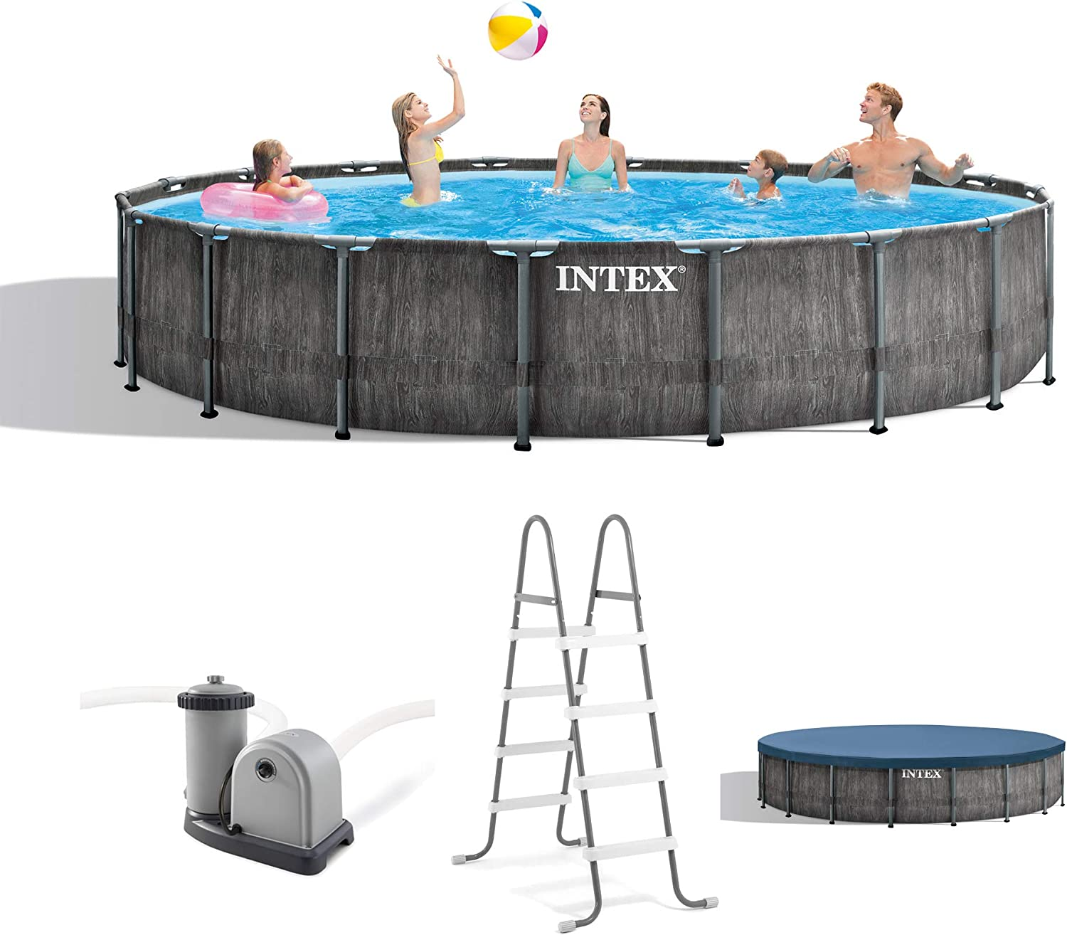 Intex 26743EH 18ft x 48in Greywood Premium Prism Steel Frame Outdoor Above Ground Swimming Pool