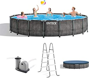 Intex 26743EH 18ft x 48in Greywood Premium Prism Steel Frame Above Ground Swimming Pool Set with Cover, Ladder, Pump