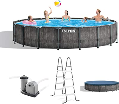 Intex 26743EH 18ft x 48in Greywood Premium Prism Steel Frame Outdoor Above Ground Swimming Pool Set with Cover, Ladder, & Pump