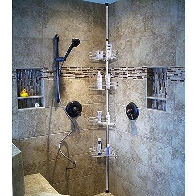 Buy Aquaterior 4 Tier Metal Bathroom Telescopic Corner Shower Shelf Caddy Pole Wall Rack Storage Organizer Soap Holder Silver Online In Turkey B01n6a77hg