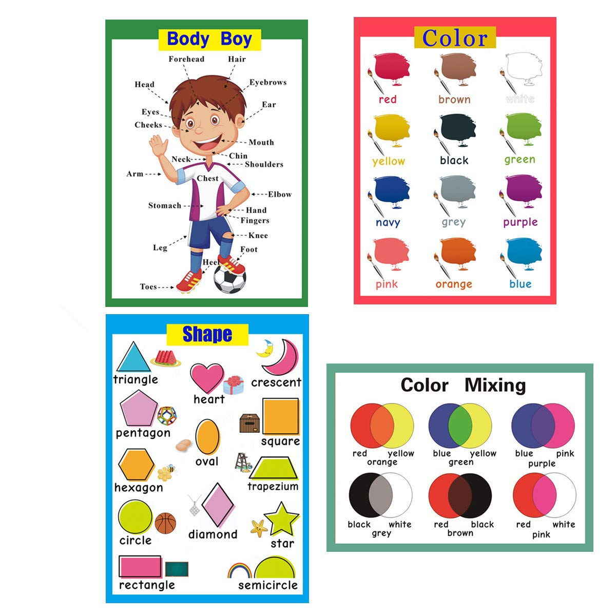 4 Pieces Laminated Educational Preschool Posters for Toddlers  Educational  Wall Charts  School Classroom Posters  Class Decorations for