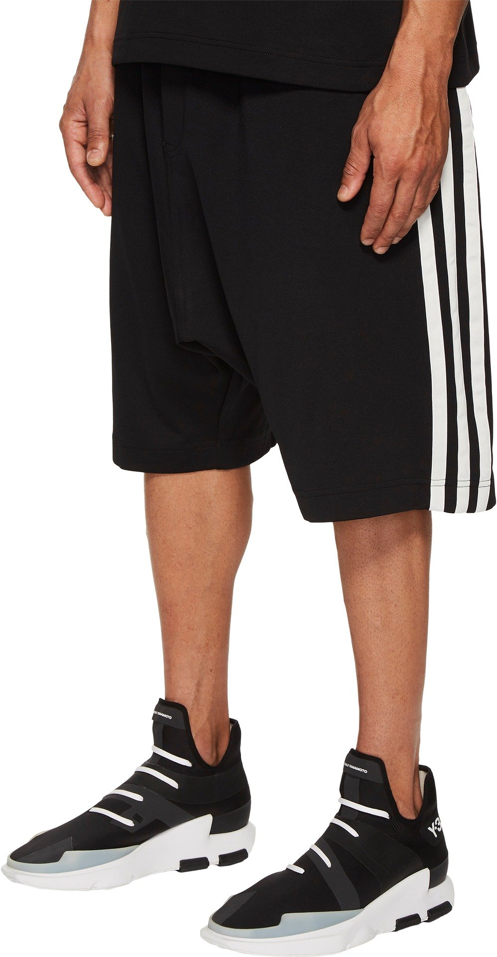 adidas Y-3 by Yohji Yamamoto Men's 3-Stripes Shorts Black/Core White Medium