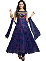Royalty Blue Georgette Women's Dress Material (Anar 01_Free Size)