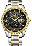 Swiss Made Men Luxury Gold Watches,Automatic Analog Display Calendar Week Luminous Gold Stainless Diamond Watches