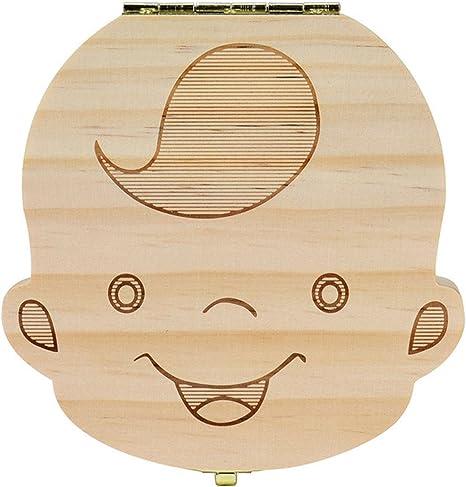 Organizador de madera de bebé inglés, para guardar dientes de leche, con cordón umbilical y caja de regalo de Madera, Rusa, Niño: Amazon.es: Bebé