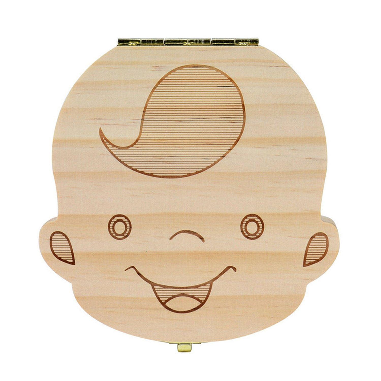 Chiffoned Baby Wood Tooth Box Organizer Milk Teeth Storage Collect Teeth UmbilicaL Cord Lanugot caja madera,Russian,boy