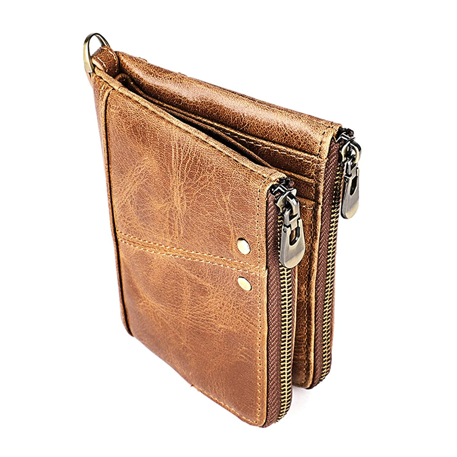 Gnzoe Genuine Leather Bifold Wallet RFID Blocking Zipper Horizontal//Vertical Wallet for Men