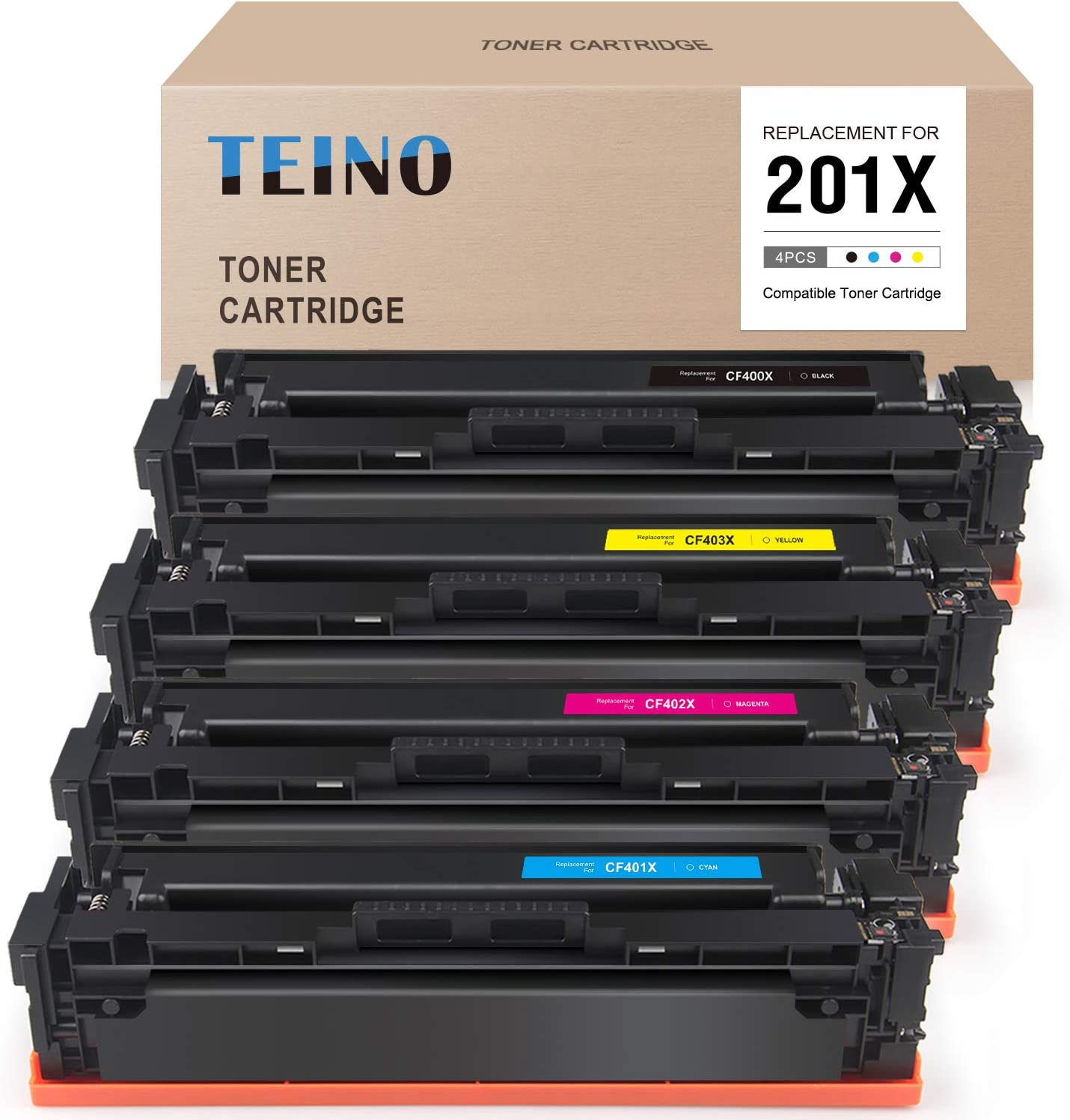 TEINO Compatible Toner Cartridge Replacement for HP 201X 201A CF400X CF401X CF402X CF403X CF400A for Color Laserjet Pro MFP M277dw M252dw M252 M277c6 M277n M252n (Black, Cyan, Magenta, Yellow)