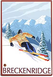 product image for Lantern Press Breckenridge, Colorado, Downhill Skier (12x18 Aluminum Wall Sign, Wall Decor Ready to Hang)