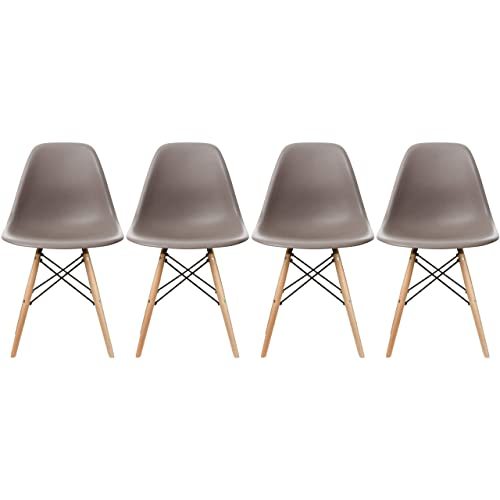 2xhome Set of 4 Taupe Gray Mid Country Modern Molded Shell Designer Assemble Plastic Chair Side No Arms Wheels Armless Chairs Natural Wood Wooden Eiffel