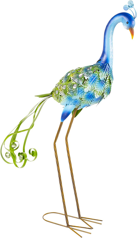 METAL  BLUE FANTAIL Peacock Bird Garden Sculpture FREE DELIVERY D18