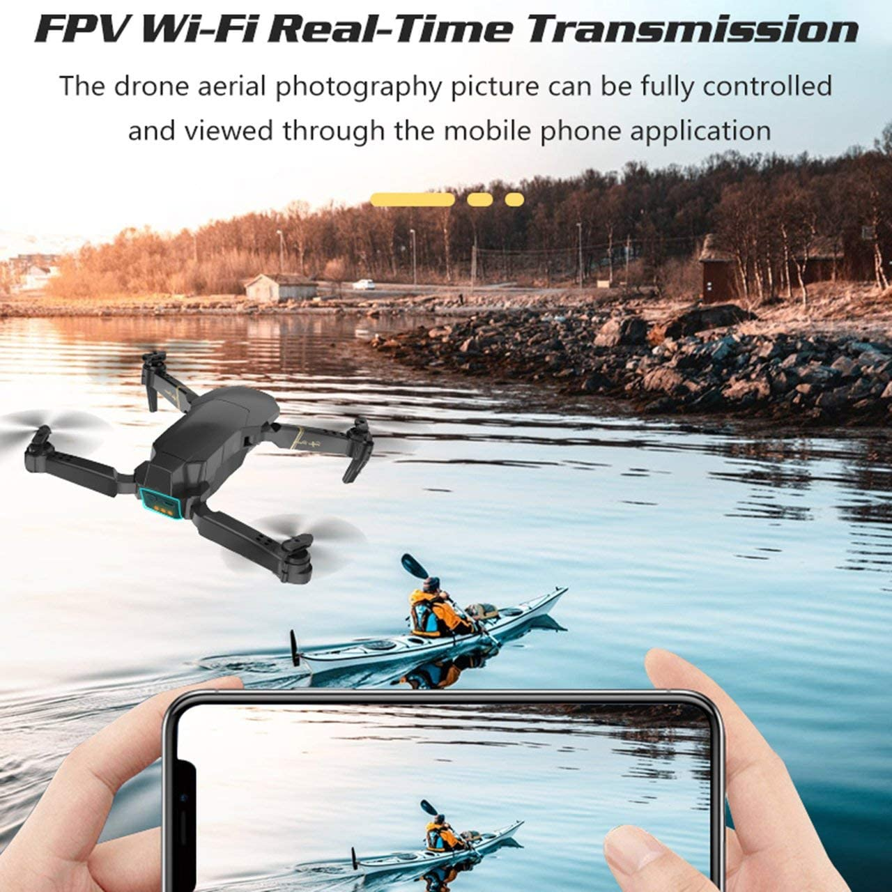 GW89 Wifi FPV Foldable RC Drone with 1080P HD Camera Altitude Hold 3D Flips Headless Mode RC Helicopter Aircraft Airplane Black Jasnyfall