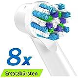 Zahnbürsten Aufsätze für Zahnbürsten oral b Ersatz, CrossAction Aufsteckbürsten kompatibel mit Oral B GENIUS, Oral B SMART, Oral B PRO, Oral B Vitality Elektrischen Zahnbürsten,8 Ersatzbürsten, Zahnbürstenaufsätze von ITECHNIK