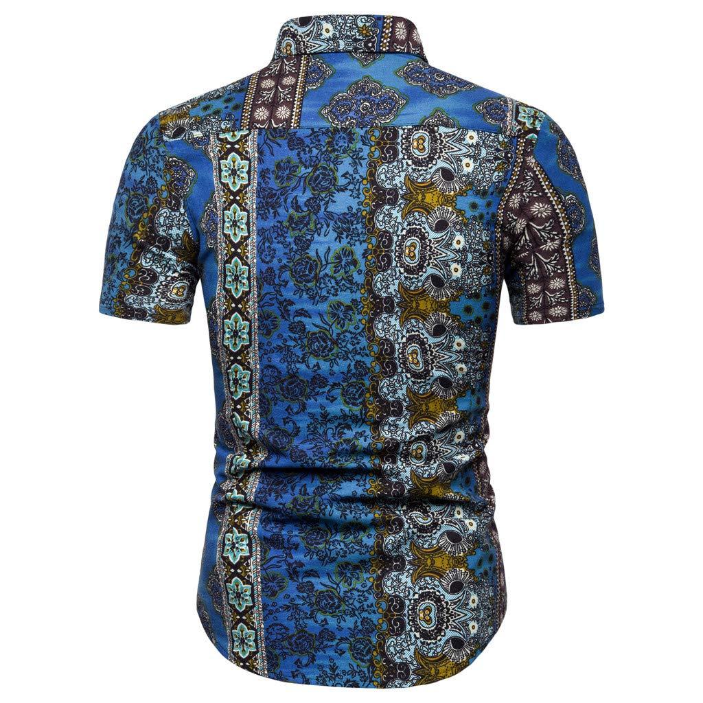 Sunhusing Mens New Boho Style Pattern Print Casual Lapel Short Sleeve Shirt Button-Down Work T-Shirt