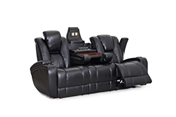 SeatCraft Innovator Reclining Sofa With Power And Drop Down Table, Brown