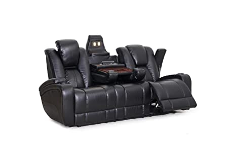 Seatcraft Transformer Reclining Sofa With Power And Drop Down Table Brown