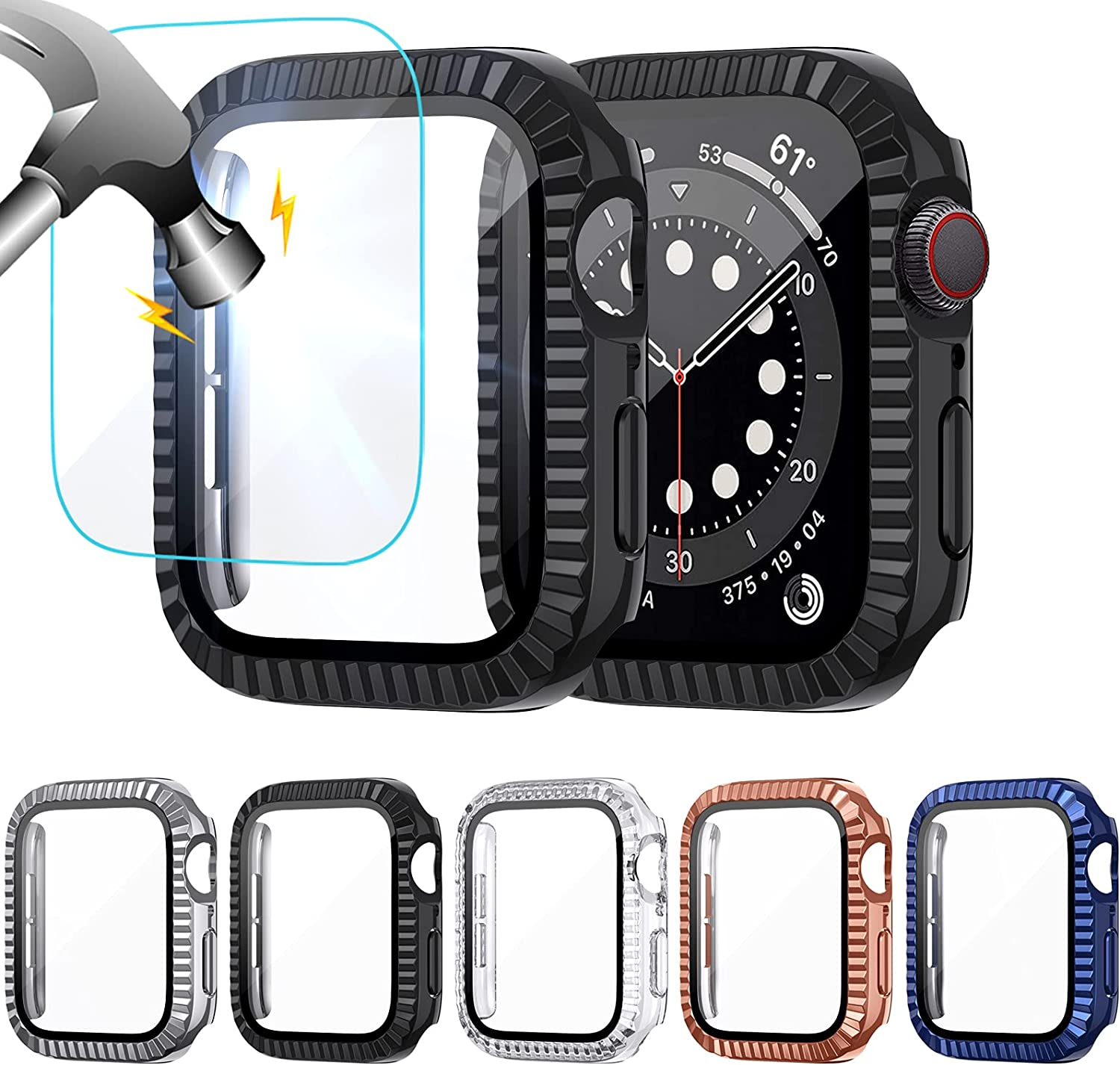 NANW 5-Pack Protective Case Compatible with Apple Watch Series 6/5/4/SE, Full Coverage Screen Protector, HD Clear Bumper, Film Cover Accessory Compatible with iWatch Series 6/5/4/SE for Women Men-44mm