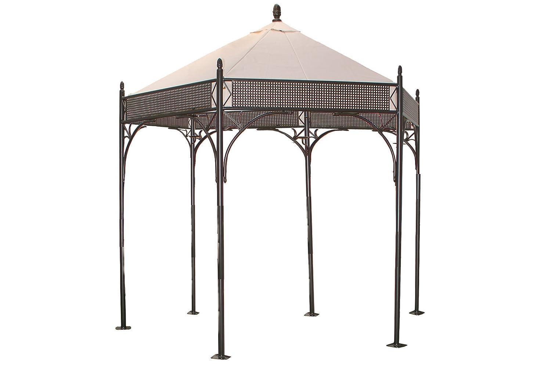 MBM Romeo Romantic Pavillon, marone/natur, Schmiedeeisen, verzinkt + pulverbeschichtet, 6-eckig