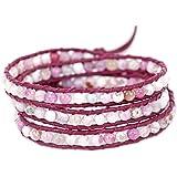 "BLUEYES COLLECTION ""Optimistic"" Pink Agate Onyx Gemstone Bead Genuine Leather Bracelet,3 Wraps, 4mm/bead"