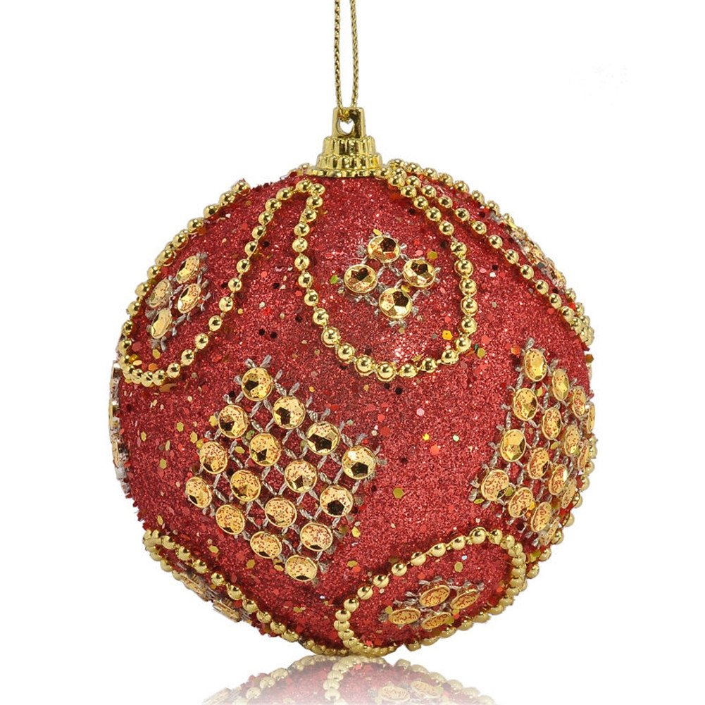 BleuMoo 8CM Glitter Christmas Balls Baubles Xmas Tree Hanging Ornament Christmas Decor (Gold)