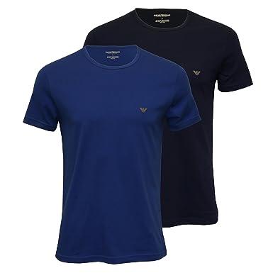 Emporio Armani 2 Pack T-shirt shirt col rond manches courtes hommes - Bleu /