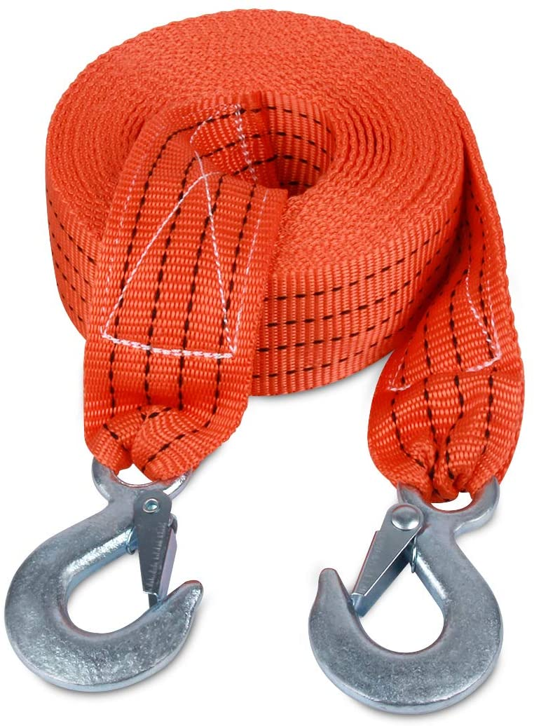 """Snatch Ropes for Truck and Car Recovery Rope Heavy Duty Miolle Tow Strap 2/""""x20/' 20000lb Towing Straps with Loops and D-Hook Shackles"""