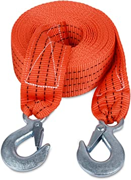 Heavy Duty Tow Strap with Hooks 10,000 Lb Capacity