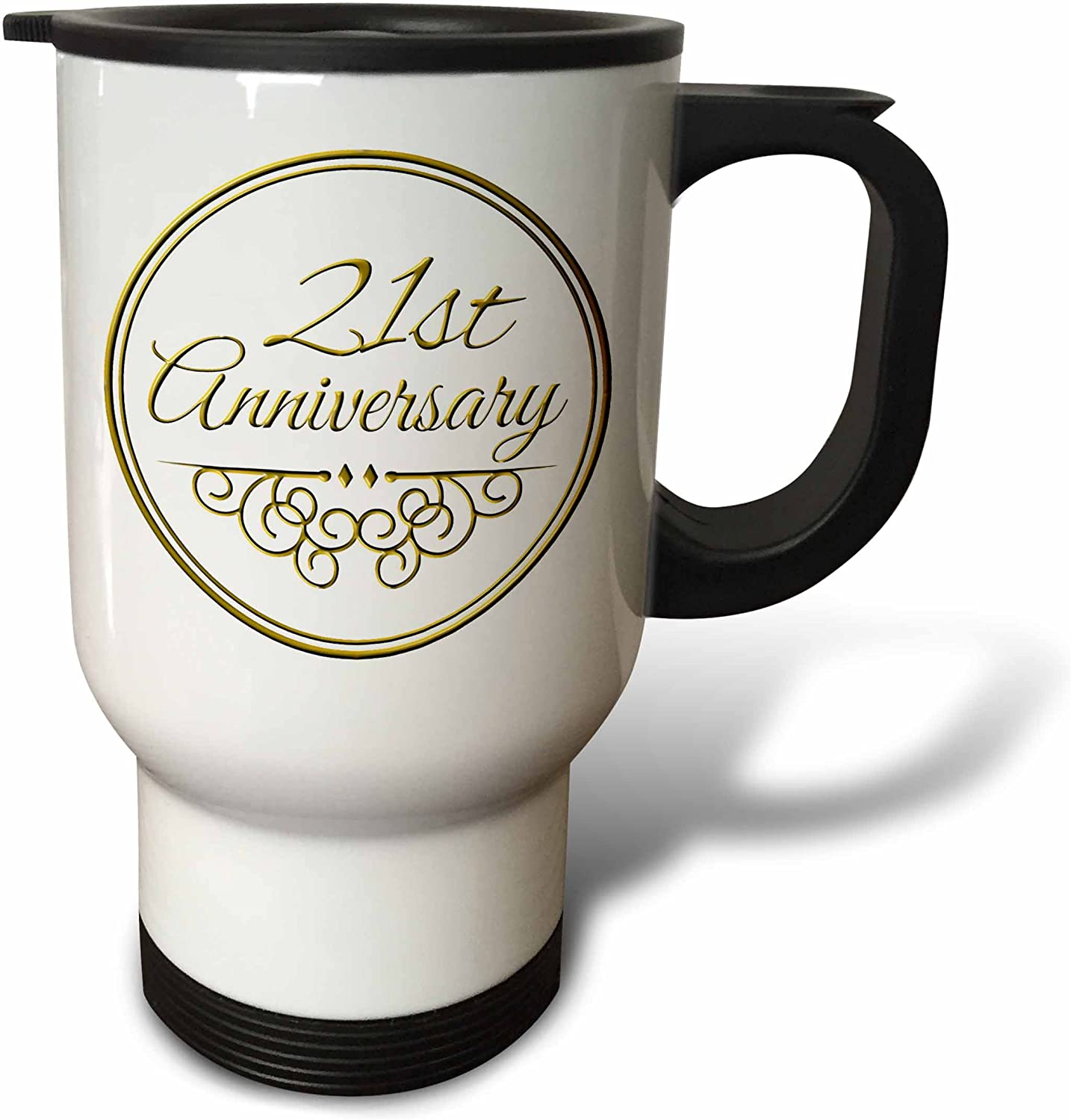 Amazon Com 3drose 32nd Anniversary Gift Gold Text For Celebrating Wedding Anniversaries 32 Years Married Together Travel Mug 14 Oz Multicolor Kitchen Dining