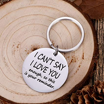 Funny Boyfriend Girlfriend Christmas Valentine Keychain I Cant Say Love You Enough Wife Husband Birthday Anniversary Gifts for Him Her Fiance Fiancee Engagement Wedding Bride Groom Present Keyring