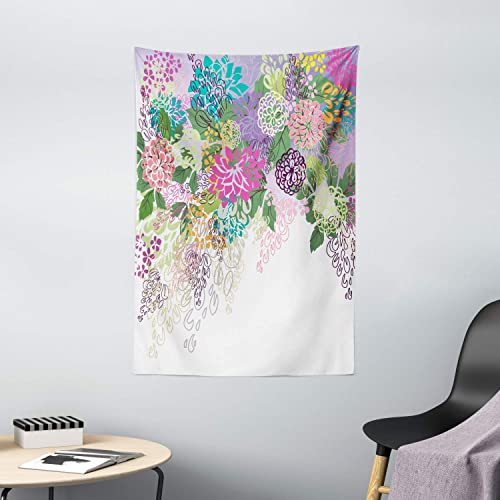 Ambesonne Flower Tapestry, Hand Drawn Style Graphic Floral Print Nature Inspiration Vintage Old Bohemian, Wall Hanging for Bedroom Living Room Dorm Decor, 40 X 60 , White Violet