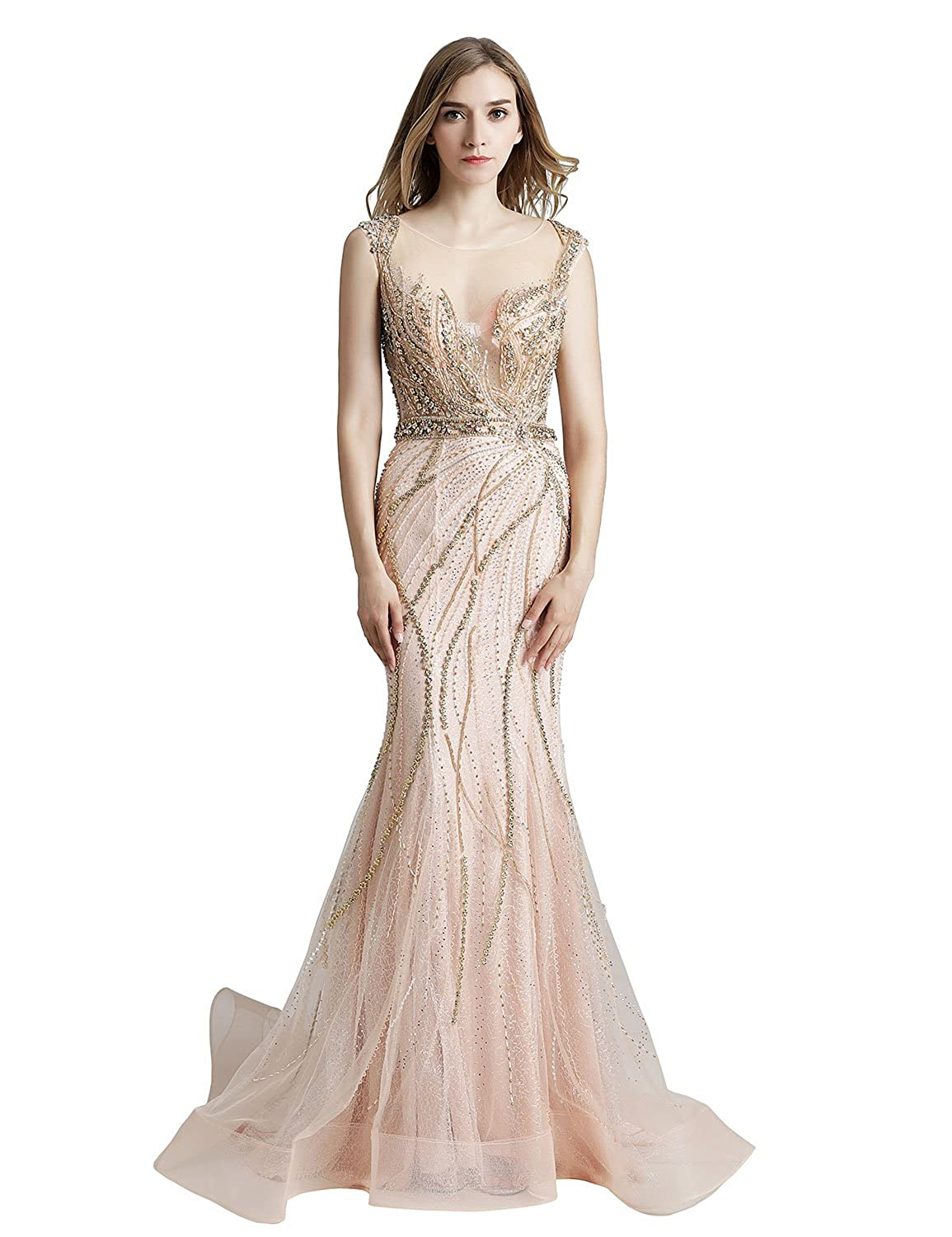 428champagne Sarahbridal Womens Lace Prom Dresses Formal Evening Gown with Half Sleeve SD328