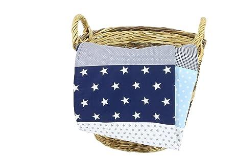 Colcha para bebé de ULLENBOOM ® con azul claro azul gris (manta de arrullo para bebé de 70 x 100 cm, ideal colcha para el cochecito; apta alfombra de ...