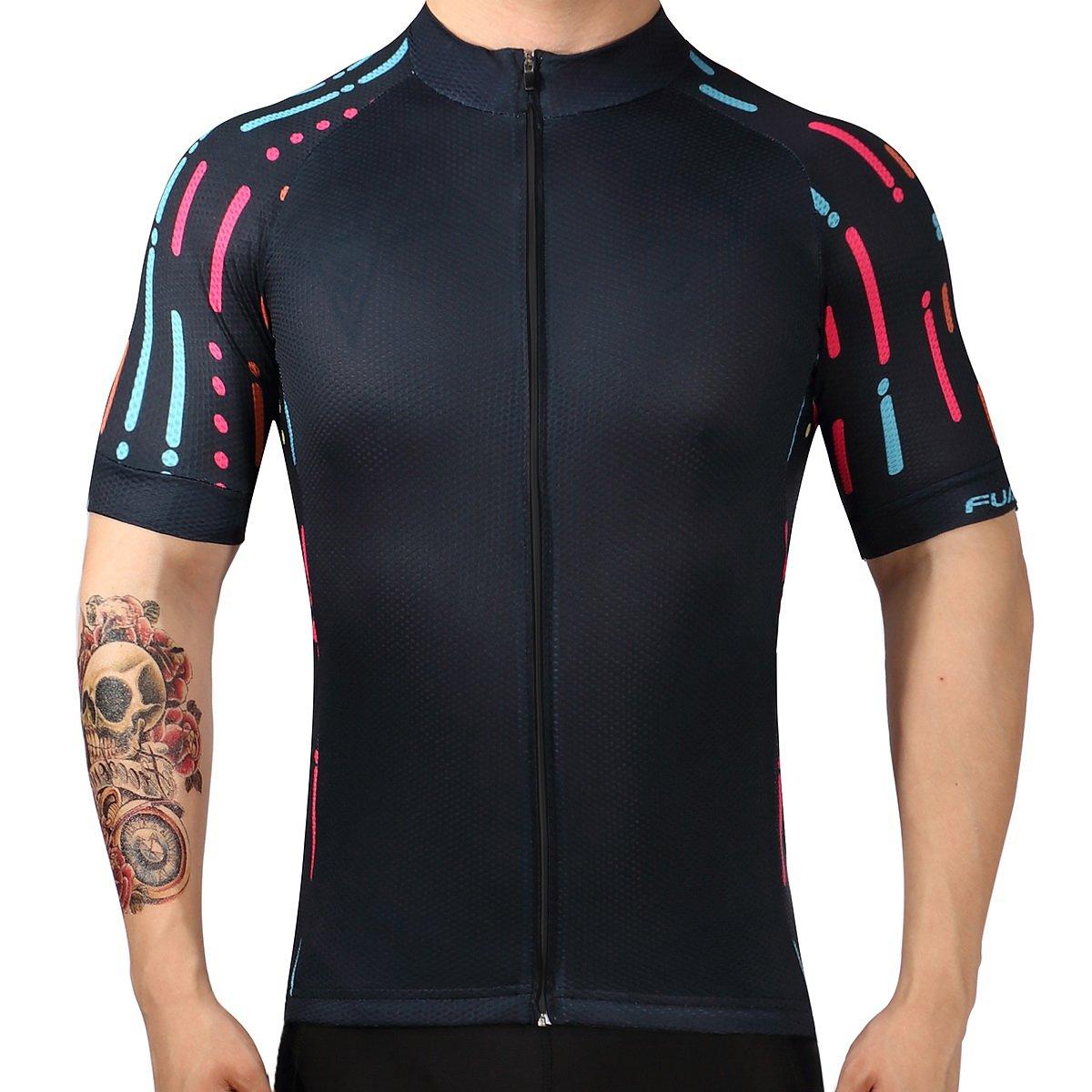 プランAクラシックブラックメンズシャツ夏サイクリングジャージー半袖自転車スポーツ服 B0745GPBGC  BlackDS08 4L