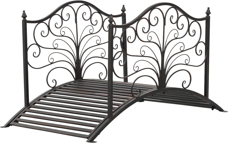 Outsunny 4' Metal Arched Backyard Decorative Garden Bridge - Black Bronze