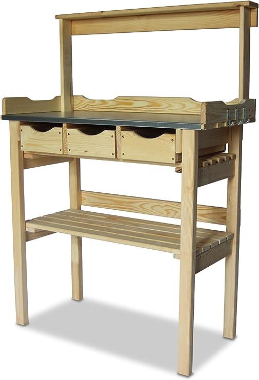 Mesa de jardinería, en madera, con 3 cajones y estante, natural ...