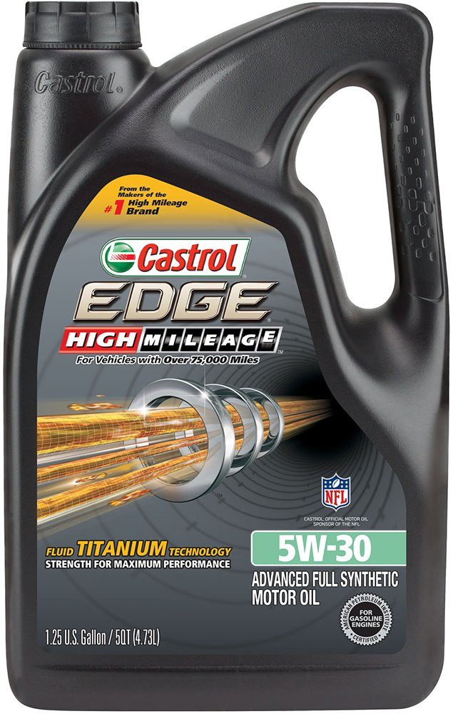 Castrol 03128C EDGE High Mileage 5W-30 Advanced Full Synthetic Motor Oil, 5 quart
