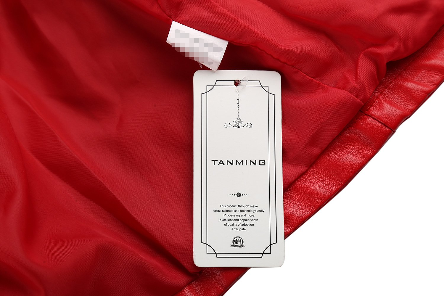 Tanming Women's Slim Zipper Color Faux Leather Jacket Red (Large, Red) by Tanming (Image #8)
