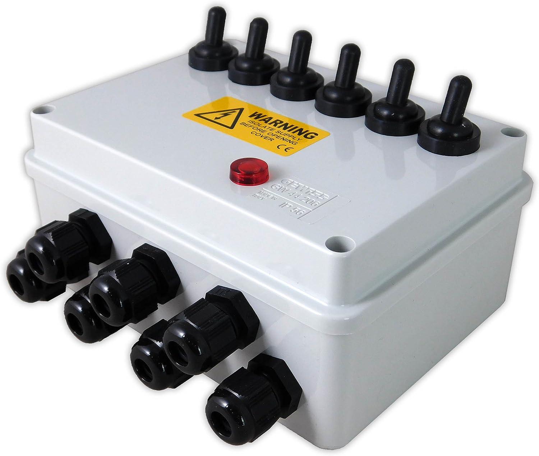 Aquacadabra 6-WAY ARMOURED POND GARDEN SWITCH BOX