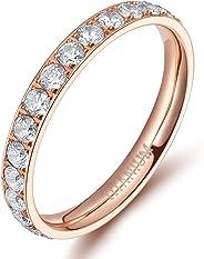 Tigrade 3mm Womens Titanium Eternity Rings Cubic Zirconia Wedding Engagement Band Size 3-13
