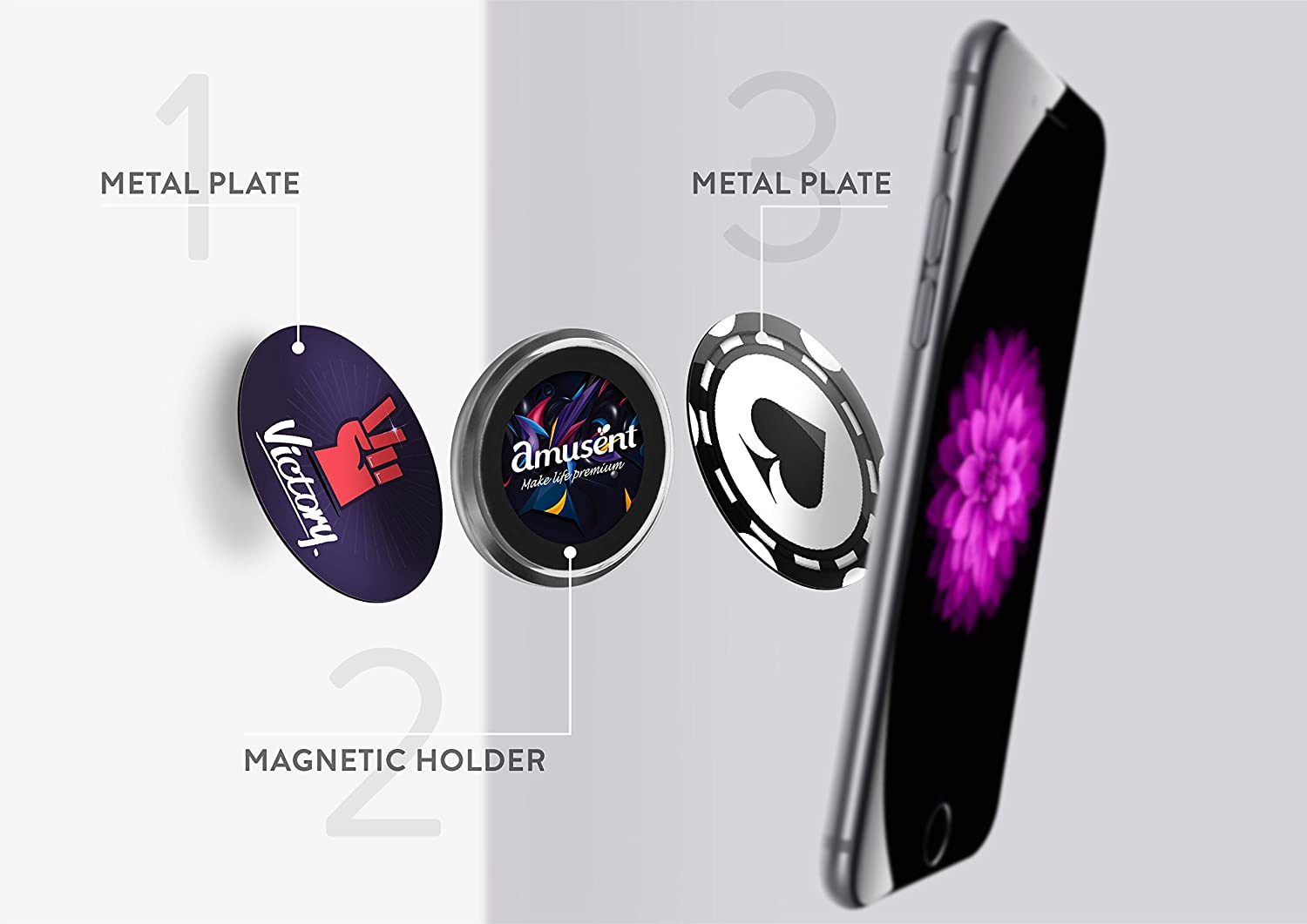 7 Google Android and More Fits All Smartphones 7 Plus Magnetic Cell Phone Holder by Amusent- Magnetic Crystal Holder for iPhone X 8 8 Plus Fathers Day Offer Huawei Samsung